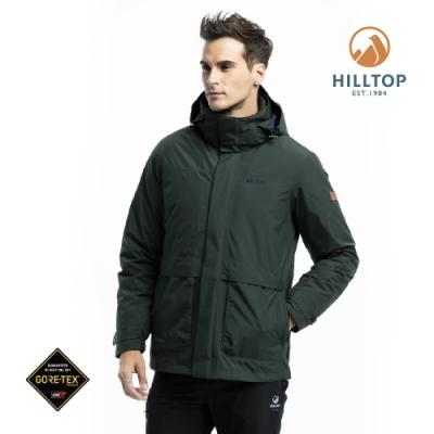 【hilltop山頂鳥】男款GORE-TEX防水羽絨短大衣F22MZ4樣衣綠
