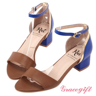 Grace gift X Rui-聯名撞色一字中跟涼鞋 深棕