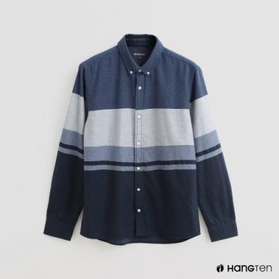 Hang Ten - 男裝 - 撞色拼接棉質長袖襯衫 - 藍