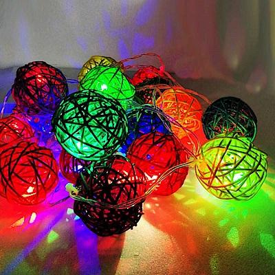 摩達客 20燈LED藤球電池燈(四彩光) YS-XLB020020