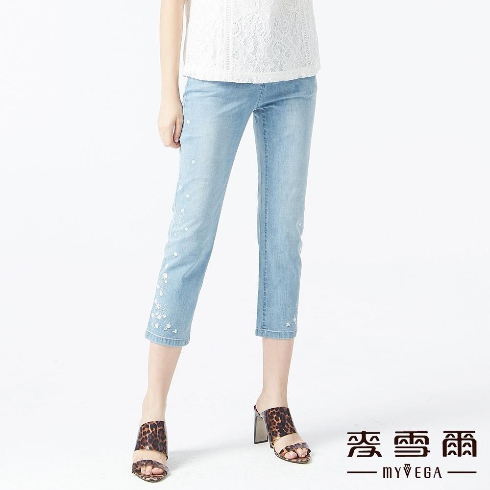 MYVEGA麥雪爾 高含棉幸運草九分直筒牛仔褲-藍
