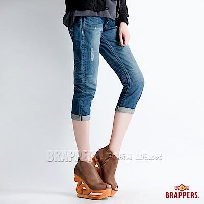 BRAPPERS 女款 Boy Friend Jeans系列-女用3D七分反摺褲-藍