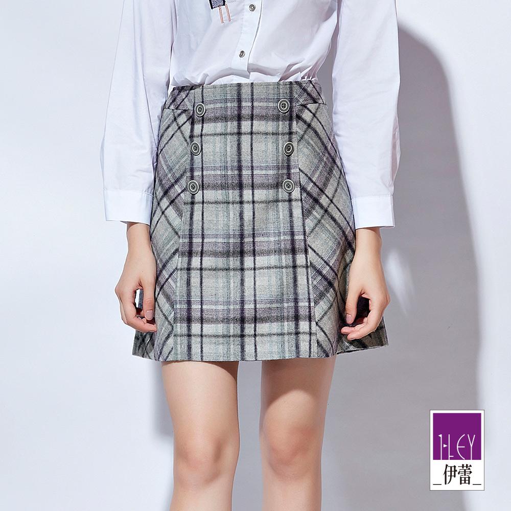 ILEY伊蕾 雙排釦格紋毛呢A字及膝裙(灰) @ Y!購物