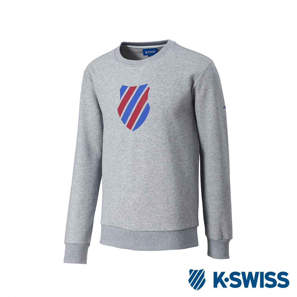 K-SWISS Crew Neck Sweatshirt 刷毛圓領上衣-男-灰