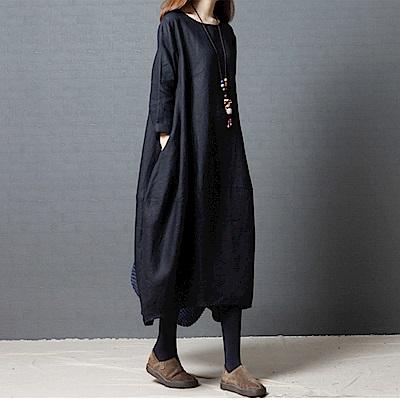 純色棉麻雅致洋裝-M~ 2 XL(共三色)-Keer
