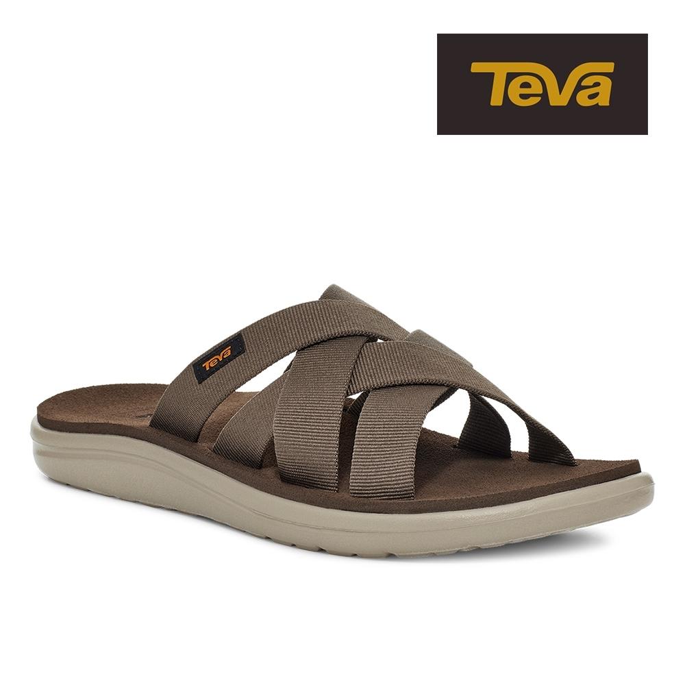【TEVA】原廠貨 男 Voya Slide 寬版交叉織帶拖鞋/雨鞋/水鞋(巧克力色-TV1099272CCHP)
