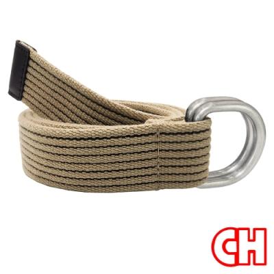 CH-BELT雙扣環雙配色純棉織帶休閒皮帶腰帶(卡其)