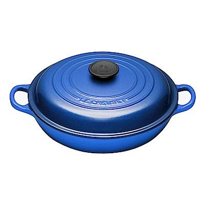 LE CREUSET 琺瑯鑄鐵淺底鍋26cm-馬賽藍