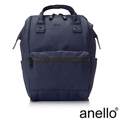 anello 率性簡約膠感防潑水後背包 深藍 L