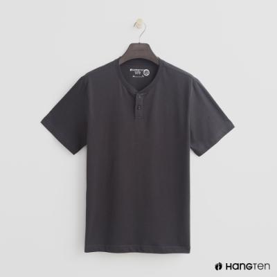 Hang Ten - 有機棉-排扣領純色T恤 - 灰