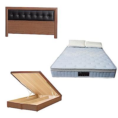 綠活居 亞多6尺雙人加大床台三式組合(床頭片+後掀床底+天絲獨立筒)五色可選