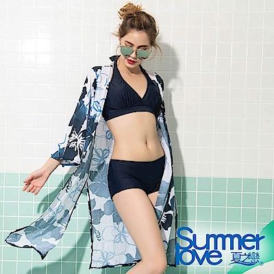 【夏之戀SUMMERLOVE】大女比基尼花朵三件式泳裝