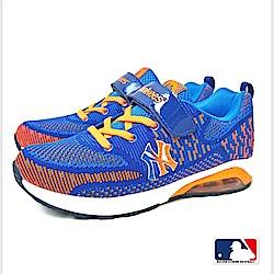 MLB大聯盟洋基網布設計避震氣墊運動鞋_童鞋款_藍/紫