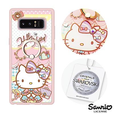 三麗鷗 Kitty Samsung Note8 施華彩鑽減震指環扣手機殼-淑女凱...