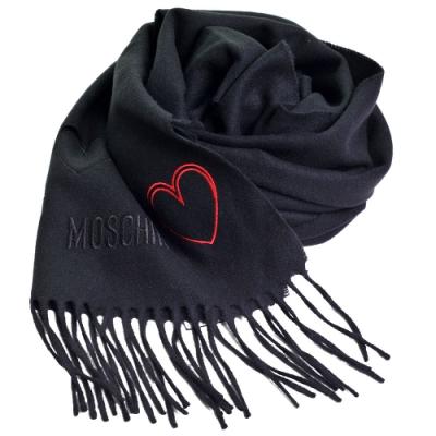 MOSCHINO 義大利製美麗諾羊毛繽紛愛心刺繡圖騰字母LOGO刺繡披肩/圍巾(黑色)