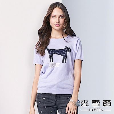 【麥雪爾】純棉可愛皇冠貓咪針織杉-淺紫
