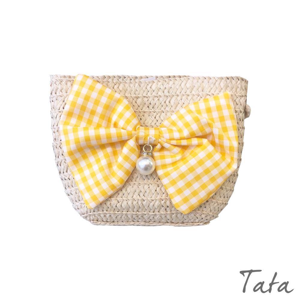 童裝 格紋蝴蝶結裝飾側背包 TATA KIDS