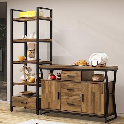D&T 德泰傢俱 馬克斯工業生活6尺L餐櫃+電器櫃-180x40x176cm
