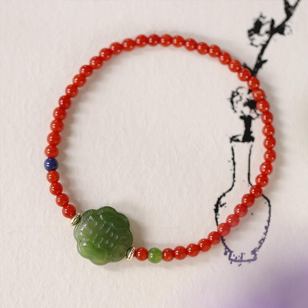 東方美學雕花碧玉深海有機寶石青金石纖細手鍊-設計所在