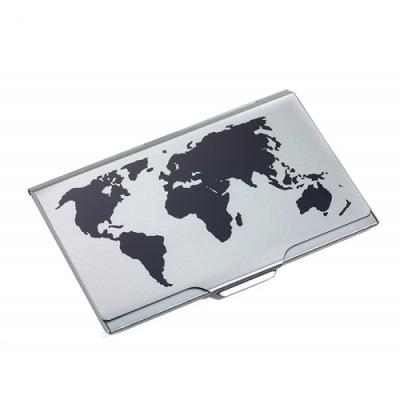 德國TROIKA世界地圖名片夾CDC15-02BK/TI(鈦黑色)