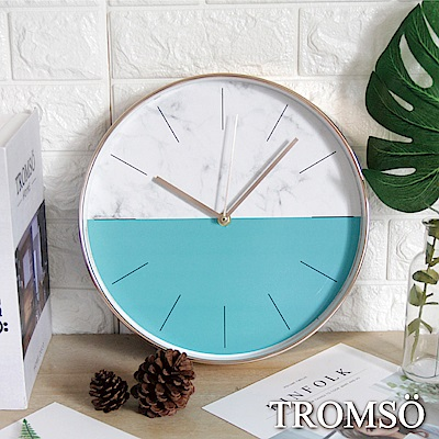TROMSO紐約時代玫瑰金靜音時鐘-大理石藍綠