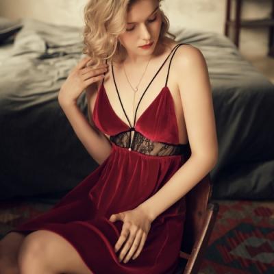 性感睡衣 精緻短絨性感睡衣 女生質感不透明居家睡衣 流行e線