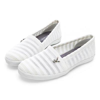 PLAYBOY 清新洞洞網布懶人鞋-白-Y520711