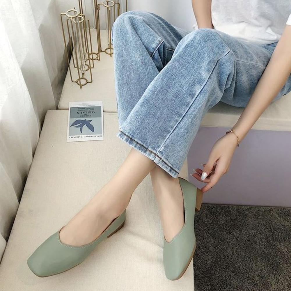 LN 現+預 經典款方頭低跟包鞋-4色 (綠色)