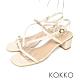 KOKKO方頭不對稱細帶粗跟小羊皮涼鞋椰奶白 product thumbnail 1