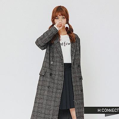H:CONNECT 韓國品牌 女裝-復古格紋排扣西裝外套-灰