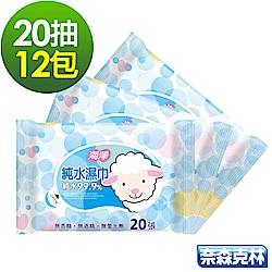 海淨 純水99.9%濕紙巾20抽12包/組