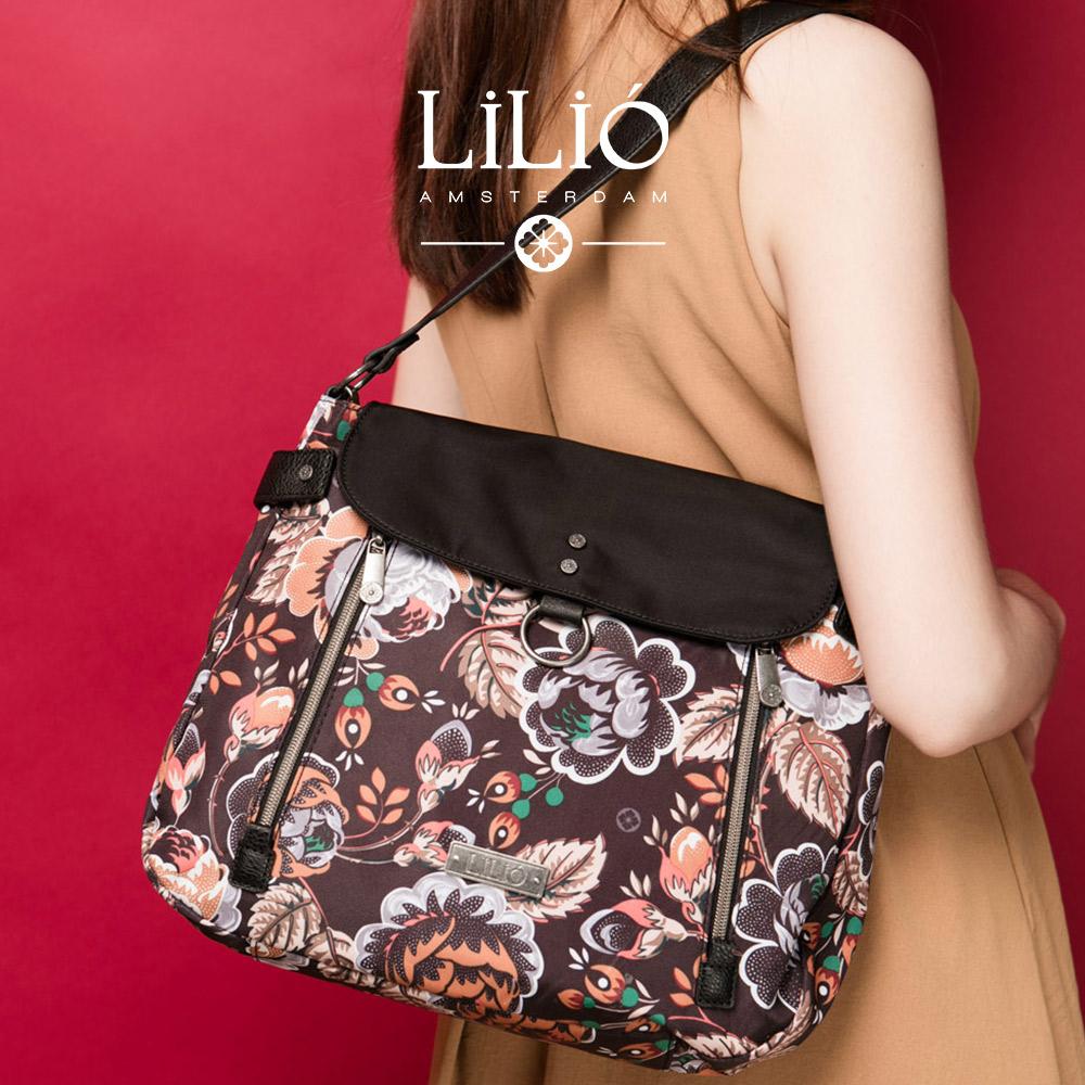 織帶手提側背包-法國玫瑰復刻印花-經典黑 LiliO