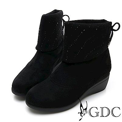 GDC-彈力流星水鑽後綁帶兩穿船型底中筒靴-黑色