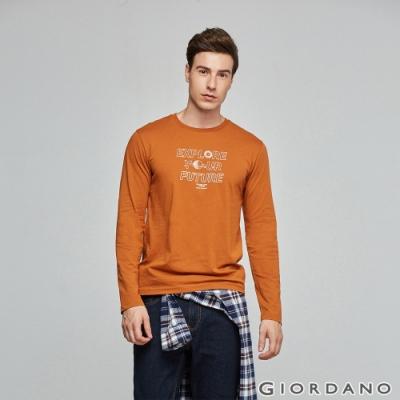 GIORDANO 男裝EXPLORE FUTURE印花長袖T恤- 11 皮革棕