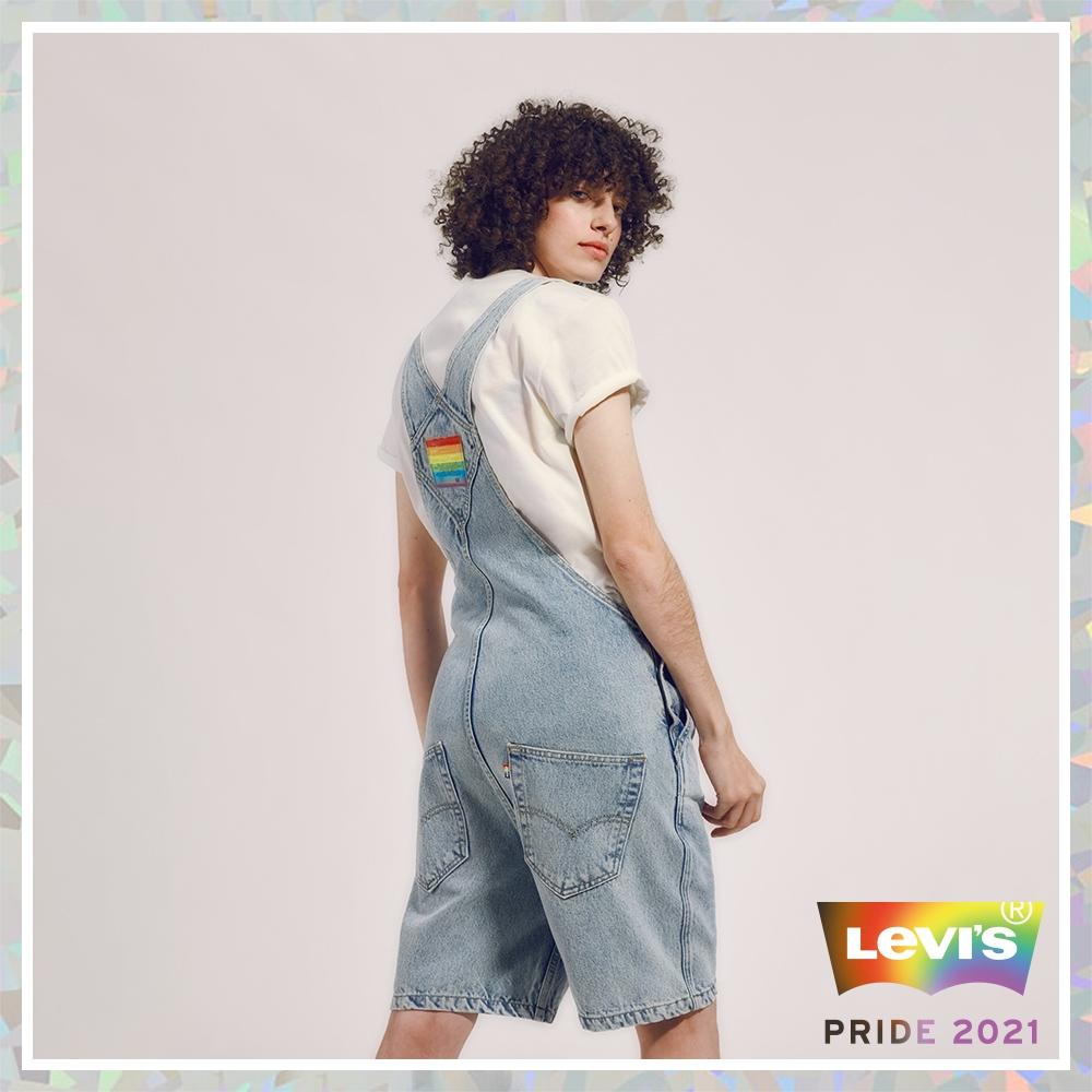Levis Pride限量平權系列 男女同款 牛仔吊帶短褲 復古寬管版型 彩虹布標、五金、皮標