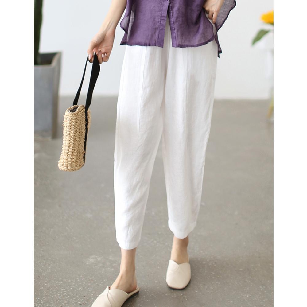 亞麻寬鬆顯瘦百搭直筒韓版九分褲子-設計所在 (白色)