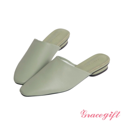 Grace gift-全素面平底穆勒鞋 綠