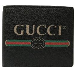 GUCCI 復古風格小牛皮綠紅綠織帶標誌對摺短夾(黑色)