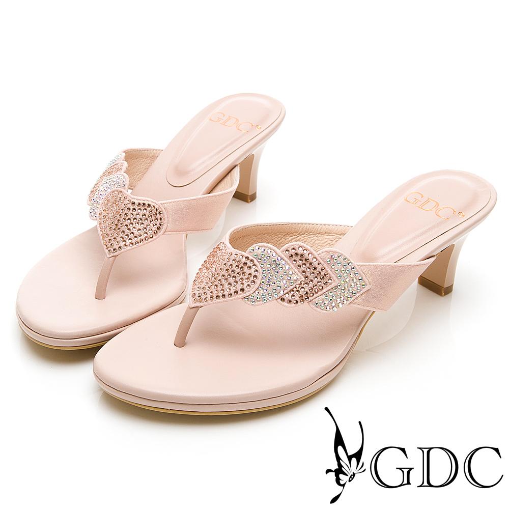 GDC-小典雅環繞水鑽閃爍低跟夾腳拖鞋-粉色
