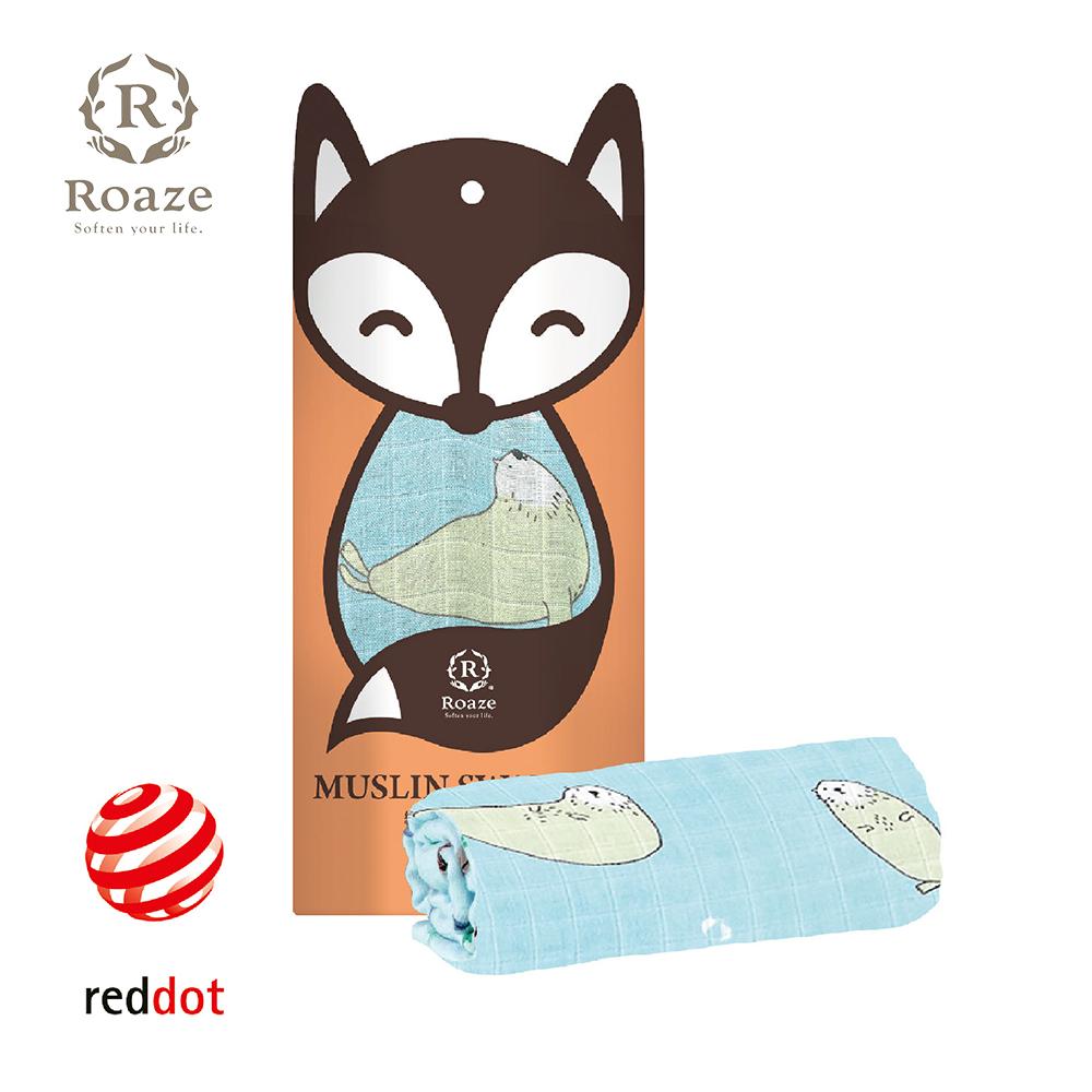 【Roaze 柔仕】 棉柔包巾毯 -藍海白豹