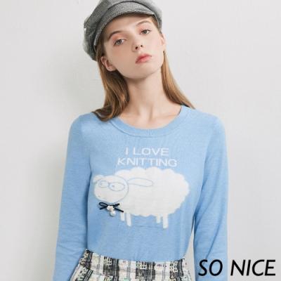 SO NICE童趣毛絨綿羊針織上衣