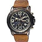 Timberland 天柏嵐 軍風霸氣計時男錶-黑x咖啡色錶帶/46mm
