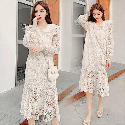 DABI 韓系性感花邊領修身鏤空水溶花蕾絲長袖洋裝