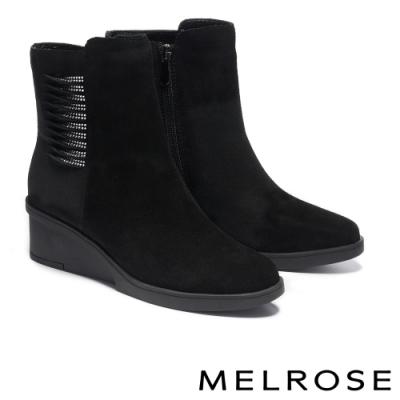 短靴 MELROSE 質感時尚晶鑽牛皮楔型高跟短靴-黑
