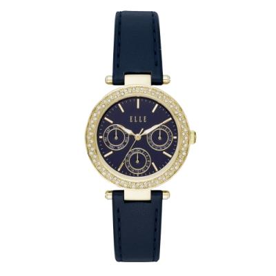 ELLE Marais 系列點綴生活晶鑽三眼腕錶-深藍(ELL23003)/33mm