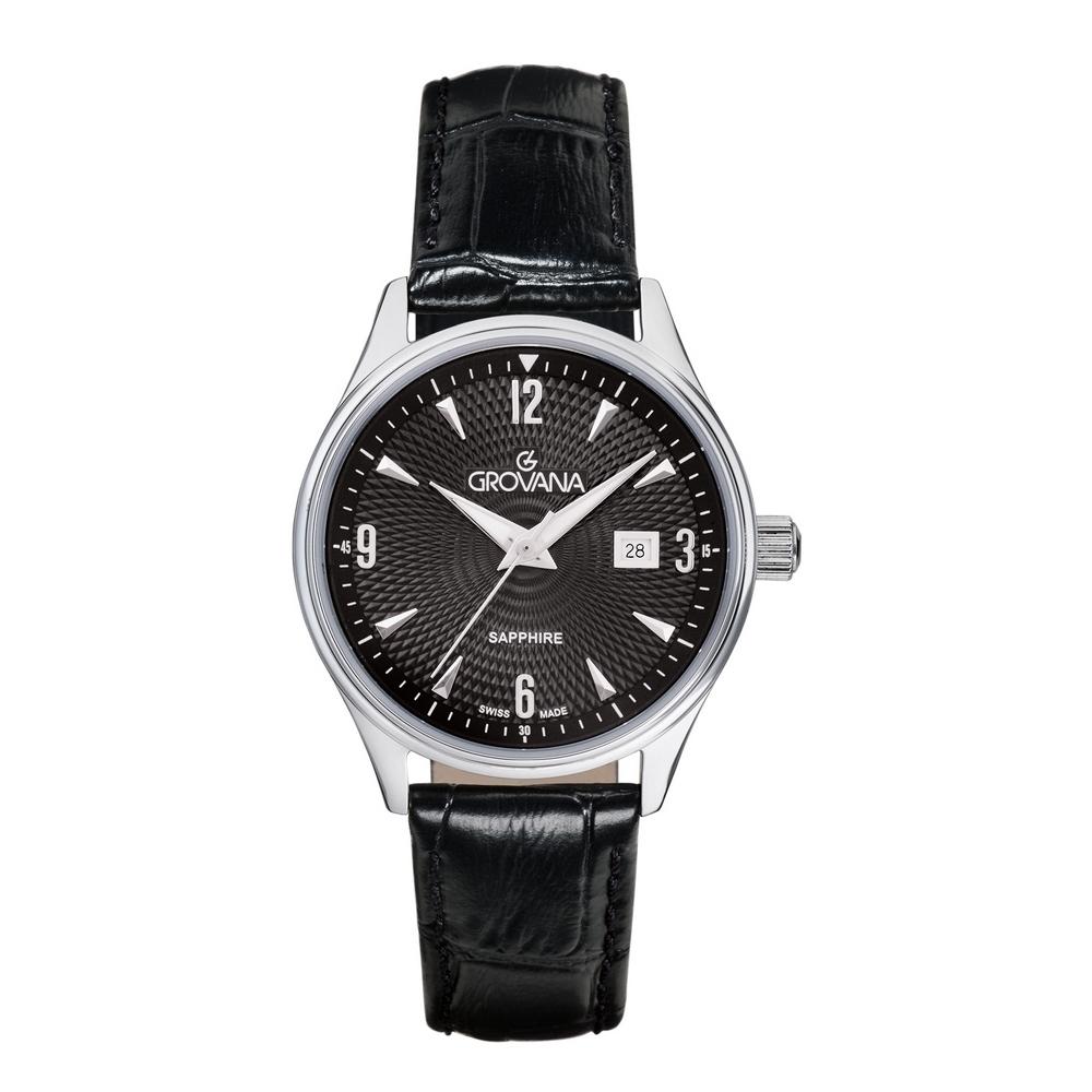 (福利品) GROVANA瑞士錶 經典系列石英女錶(3191.1537)-黑面x黑色皮帶/32mm