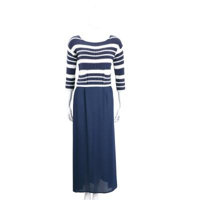 Max Mara-WEEKEND 藍x白色針織拼接雪紡七分袖洋裝