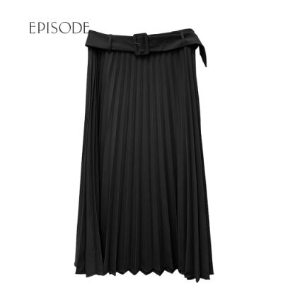 EPISODE - 氣質顯瘦腰帶設計百摺長裙(黑)