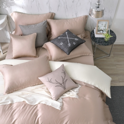 OLIVIA 玩色主義 可可 加大雙人床包歐式枕套三件組 300織膠原蛋白天絲 台灣製