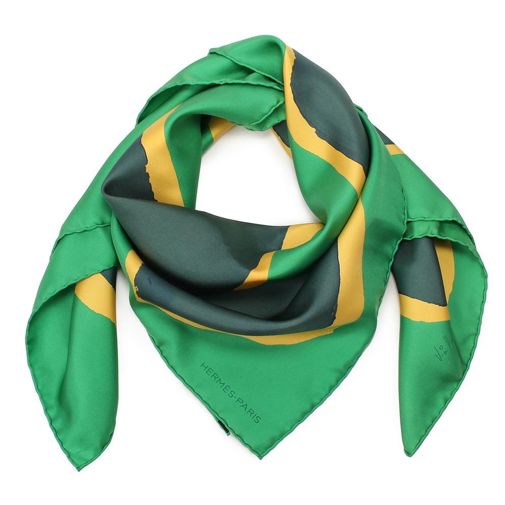 HERMES Claude Viallat大地色披肩方型絲巾-綠色